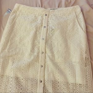 BCBG long white skirt